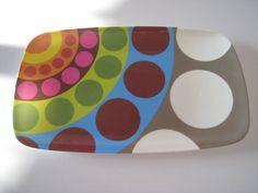 colorful dot platter tray