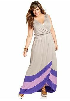 PLUS Size Trend Of The Day...Soprano Plus Size Dress, Sleeveless Colorblocked Maxi From Macy's | PLUS Model Magazine