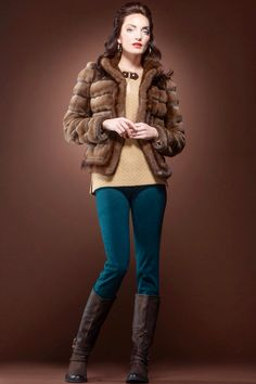 Dyed Sheared Mink Fur Jacket with Dyed Mink Fur Trim