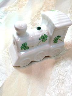 Vintage Belleek Shamrock Train Charming Collectible Home Decor by NorthCoastCottage Jewelry Design & Vintage Treasures on Etsy.com, $89.00