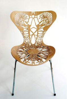 WORL: Laser-cut chair // I would love to design a display around this piece. The intricate laser-cut is already so complex, it would be a challenge to design a display that complemented it right.