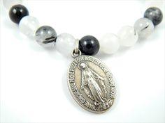 Handmade Black Tourmaline Quartz Beaded Miraculous Medal Catholic Medal Stretch Bracelet - Patron Saint Jewelry - Catholic Jewelry by LuxMeaChristus on Etsy