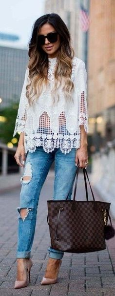 #spring #summer #fashionistas #outfitideas | White Lace Top + Denim Rips