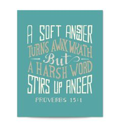 Proverbs 15 Hand Lettered Typography Scripture Art Print