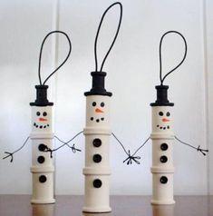 wooden spool craft | Wooden Spool Snowmen | crafts