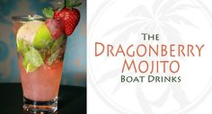 ** Dragonberry Mojito Drink Recipe **  - 2oz. Bacardi Dragonberry Rum - 1/2 oz. simple syrup - 1 strawberry, sliced - soda water - 5 mint leaves - ice - 1 whole strawberry and 1 mint sprig (for garnish) - Muddle mint leaves and sliced strawberry with simple syrup in a cocktail shaker. Add ice and rum. Shake and pour contents into a highball glass. Add more ice, if needed, and top with soda water. Garnish with mint sprig and whole strawberry. Raise glass and toast.