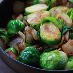 Foy Update: Pan Roasted Brussels Sprouts with Bacon and Onions - Healthy Side Dish Recipe