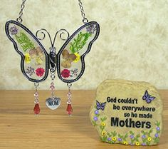 Mom Butterfly Suncatcher  Mom Message Stone Rock with Butterflies  Flowers Decorations and Mom Poem  Gifts for Her  Birthday Gifts for Mom  Motherinlaw  Grandama * See this great product.