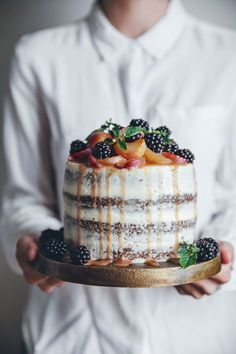 A peach carrot cake with cream cheese frosting A Saveur blog awards finalist!