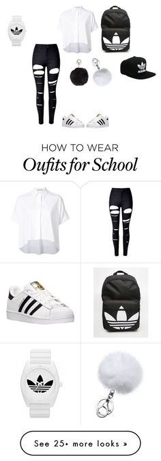 school adidas by lailaj234 on Polyvore featuring Alice Olivia, WithChic, adidas and Humble Chic