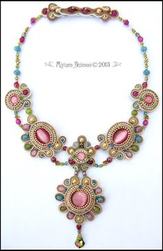 """Soutache beaded """"Chain of Emotion"""" Necklace in Cream, Pink, Green, Blue and Copper"""