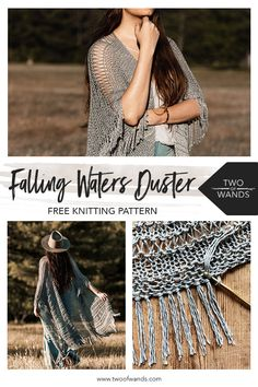 Falling Waters Duster Pattern by Two of Wands Cotton Crochet Patterns, Knitting Patterns Free, Knitting Ideas, Summer Knitting, Easy Knitting, Yarn Sizes, Lion Brand Yarn, Circular Knitting Needles, Formal Looks