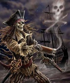 Art by Anne Stokes (Ironshod) Pirate * Fantasy Myth Mythical Mystical Legend Elf Elves Sword Sorcery Magic Witch Wizard Sorceress Demon Dark Gothic Goth Demoness Darkness Castle Dungeon Realm Dreamscapes Skull Reaper Pirate Skeleton, Pirate Art, Pirate Skull, Pirate Life, Pirate Ships, Skeleton Art, Skeleton Warrior, Pirate Halloween, Anne Stokes