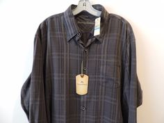 Tommy Bahama Relax Big Man Gray Plaid Tommy Cup Silk Shirt SZ XL NWT Fast Ship #TommyBahama #ButtonFront