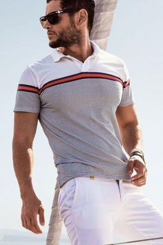 The term Polo shirt was originally used to describe the long sleeved, thick button down shirts used to play Polo. In the a tennis shirt embroidered with a polo player on it was the first of … Polo Shirt Style, Polo Shirt Outfits, Polo T Shirts, Tennis Shirts, Tennis Clothes, Men Clothes, Camisa Polo, Business Casual Men, Men Casual