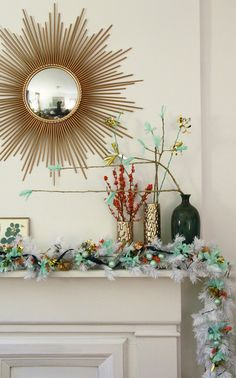 Lonny editor Catherine Dash decked out her mantel in mint green and metallics.