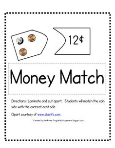 Print, laminate and cut apart money cards. Students will count a combination of pennies, nickels, and dimes up to one dollar on cards and match them wit. Teaching Money, Teaching Math, Teaching Ideas, Montessori Math, Homeschool Math, Math Resources, Math Activities, Math Enrichment, Math School