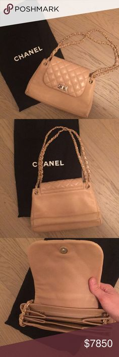 CHANEL - quilted flap bag RARE - Soft lambswool quilted bag with gold woven chainlink strap -- authenticity cards included CHANEL Bags Shoulder Bags
