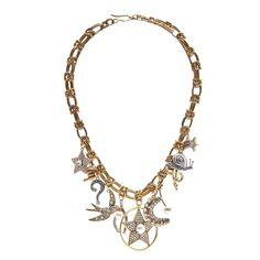 Marc Jacobs Crystal Charm Statement Necklace