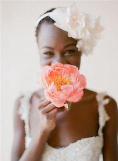 Beautiful bride with short natural hair