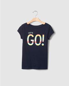 Camiseta de niña Gap azul marino con print
