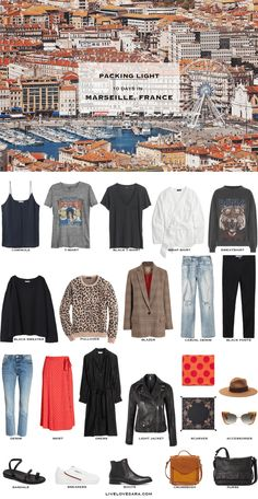 Pack for Marseille, France - Packing Light If you are wondering what to pack for a 10 Day vacation in Marseille, France, you can see some ideas here. What to Pack for Marseille Packing Light List Capsule Wardrobe 2018, Travel Wardrobe, Vacation Wardrobe, Parisienne Chic, France Outfits, Europe Outfits, Streetwear, Packing Light, Fall Packing