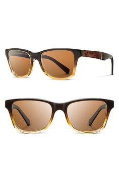 Men's Shwood 'Canby' 53mm Polarized Sunglasses - Sweet Tea/ Elm Burl/ Brown