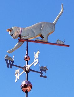 The Cat Playing with Mice Weather Vane is handcrafted of copper and brass with…