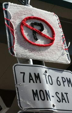 NO PARKING yarn bomb!
