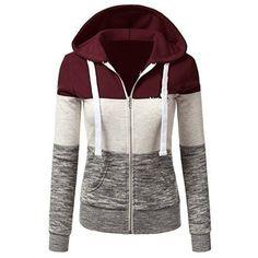 xiaohuoban Womens Hooded Pullover Half-Zipper Contrast Sweatshirt