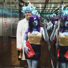 The beau and I entered a costume contest to win comic con tickets (and won!) Rick and Unity from Rick and Morty.