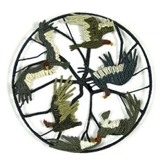 "CAROL ECKERT SUMMER OF THE VULTURES Cotton, wire  3"" deep x 12"" diameter Textile Sculpture, Weave, Decorative Plates, Textiles, Deep, Gallery, Artist, Summer, Cotton"