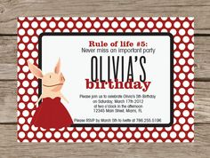 Olivia the Pig Inspired Birthday Party Printable Invitation -- Invite Customizable colors. $14.00, via Etsy.
