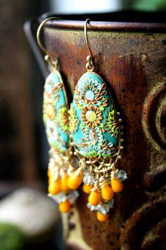 Prehnite and czech glass beads with brass oval by Peelirohini