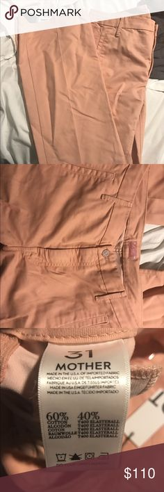 Mother Denim Pink Slacks Adorable pants from Mother Denim. Very flattering flared leg slacks in a light pink/salmon color. Perfect for a casual day at work and all spring/summer. Mother Denim products are always super flattering and these are no exception! Never worn! MOTHER Pants Boot Cut & Flare
