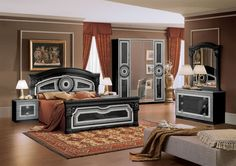 Aida Italian Bed Black with Silver | Classic Bedroom