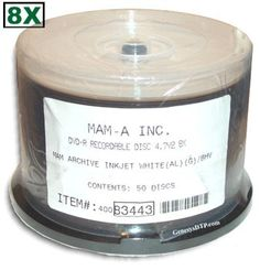 4.7 GB MAM-A (Mitsui) White Inkjet Hub Printable/GOLD 8X DVD-R 50-Pak in Cakebox by MAM-A. $136.99. The Longest Lived Recordable Media Available. The MAM-A Archive GradeTM Gold DVD is offered as the long awaited companion to the MAM-A Archive GradeTM Gold CD-R. Preliminary tests show that the MAM-A Gold Archive GradeTM DVD lasts significantly longer than ordinary silver recordable DVD discs.