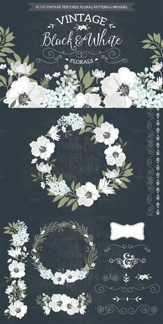 This works fabulously on wedding stationery, but of course is not limited to that. The vintage style of the pack will add a touch of a bygone era to any design project! Decoupage, Corona Floral, Black And White Design, Black White, Flower Frame, Graphic Design Inspiration, Watercolor Flowers, Clip Art, Wedding Stationery