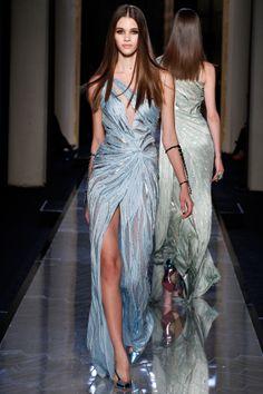 IceBlue Gown on the #VersaceAtelier #Runway #ParisFashionWeek #S/S2014 #Versace #HauteCouture via Tumblr