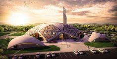 Absolutely stunning design, Hamdan bin Zayd mosque proposal by Dewan Architects Mosque Architecture, Religious Architecture, Futuristic Architecture, Sustainable Architecture, Architecture Design, Parametric Architecture, Beautiful Mosques, Beautiful Buildings, Grand Mosque