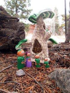 Crocheted Tree  House with Painted Wooden Fairies by Ravenglass, $20.00