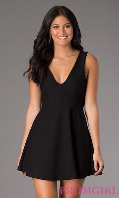 V cut black dress accessories