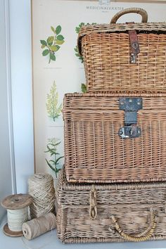 Stacked baskets always attract attention with their textural appeal and vintage feel.