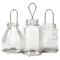 Set of 3 glass jar-inspired candle lanterns.   Product: Small, medium, and large lanternConstruction Material: ...