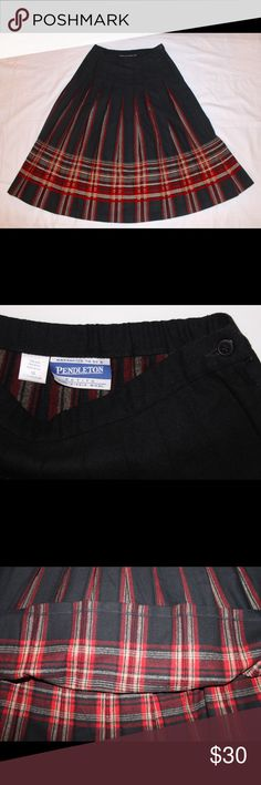 PENDLETON Black Red Plaid Pleated Long Wool skirt 100% Virgin Wool. The skirt has a button and zipper on the side to close. The red plaid is between the pleated parts of the skirt. Pendleton Skirts Midi