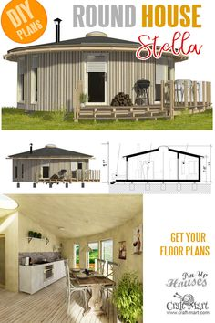 Small and tiny Home plans with cost to build - Stella Round Tiny House Plans. Micro House Plans, Round House Plans, House Plans For Sale, Small House Floor Plans, Tiny House Loft, Building A Tiny House, Tiny House Trailer, Tiny House Design, Building Costs