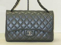 12ca2e249f78 Chanel Jumbo Double Flap Metallic Caviar Dark Grey - Keeks Buy + Sell  Designer Handbags