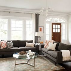 Gray And Brown Living Room Design Ideas, Pictures, Remodel, and Decor - page 10
