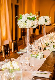 Tall white hydrangea wedding centerpieces  // Photography by Beautiful Day Photography // Coordination by All You Need is Love Events