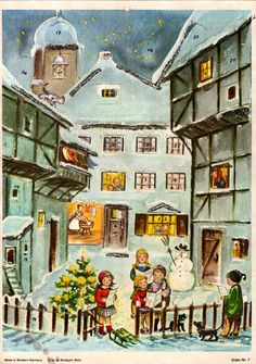 Illustrated by Anita Rahlwes, Advent Calendars, Vintage Christmas, 1960s, Painting, Image, Happiness, Christmas Cards, Christmas Time, Advent Calendar